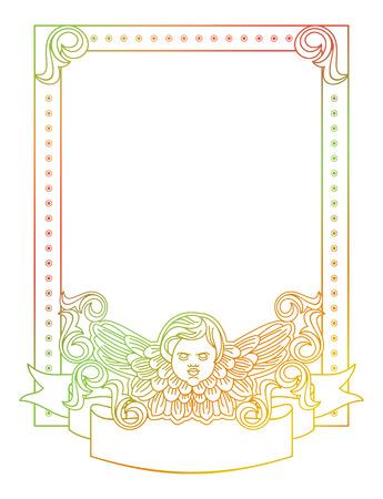 cupido: Gradient frame with angel in vintage style. Custom element for design artworks. Raster clip art.