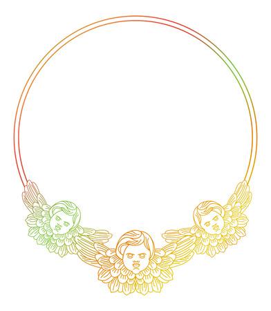 bible flower: Gradient round frame with angel in vintage style. Custom element for design artworks. Raster clip art.