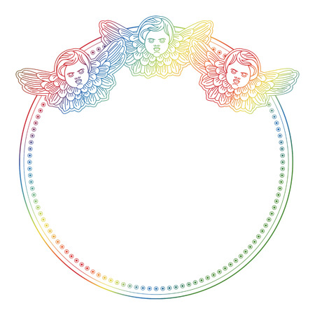 cupido: Gradient round frame with angel in vintage style. Custom element for design artworks. Raster clip art.