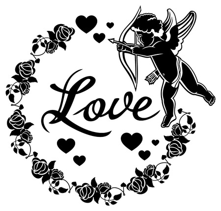 Cupid with bow hunting for hearts. Black and white round label with Cupid, roses, hearts and single word Love!.  Vector clip art. Illustration