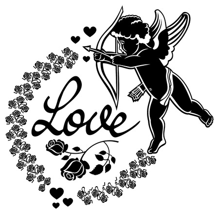 Cupid with bow hunting for hearts. Black and white label with Cupid, roses, hearts and single word Love!.  Vector clip art.