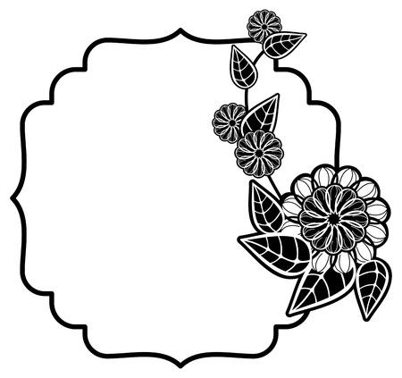 Cadre noir et blanc avec des fleurs décoratives. Copier l'espace. Vector clip art.
