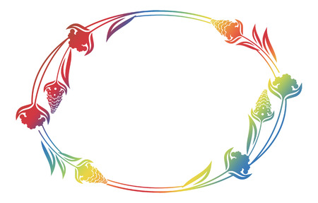 Beautiful floral oval frame with gradient fill. Color silhouette frame for advertisements, wedding and other invitations or greeting cards. Raster clip art.