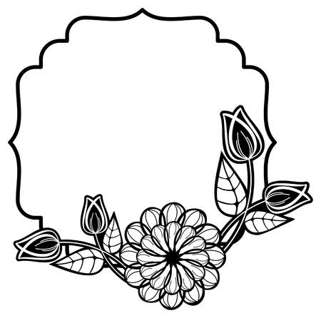 Schwarz-Weiß-Rahmen Mit Dekorativen Blumen. Kopieren Sie Raum ...