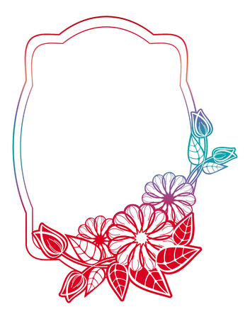 Beautiful floral label with gradient fill. Color silhouette frame for advertisements, wedding and other invitations or greeting cards. Raster clip art. Stock Photo