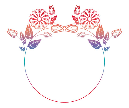 Beautiful round floral frame with gradient fill. Color silhouette frame for advertisements, wedding and other invitations or greeting cards. Raster clip art.