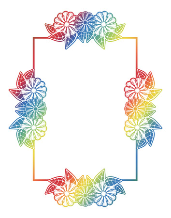 mixed marriage: Beautiful floral frame with gradient fill. Color silhouette frame for advertisements, wedding and other invitations or greeting cards. Raster clip art.