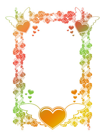 Valentine label with roses and flying hearts. Color gradient frame for advertisements, invitations or greeting cards. Raster clip art.
