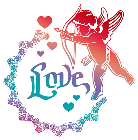 Cupid with bow hunting for hearts. Color gradient round label with Cupid, roses, hearts and single word Love!. Raster clip art.