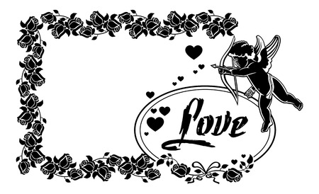 Cupid with bow hunting for hearts. Black and white frame with silhouettes of Cupid, roses and hearts. Design element for greeting card. Vector clip art.