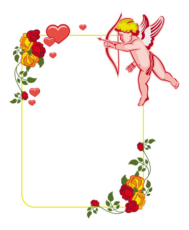 Cupid with bow hunting for hearts. Color frame with Cupid, roses and hearts. Design element for greeting card. Vector clip art.