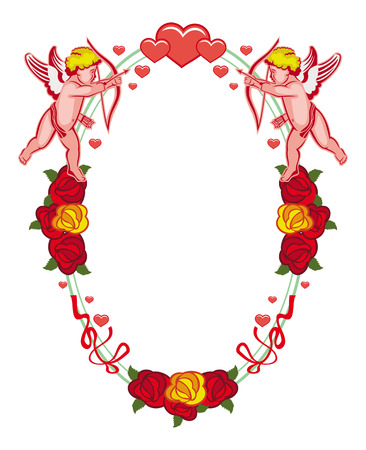 Oval label with Cupid, roses and hearts. Cupid with bow hunting for hearts. Design element for greeting cards and presents. Vector clip art.