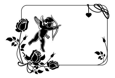 Cupido met boog op jacht naar harten. Zwart-wit frame met silhouetten van Cupido, rozen en harten. Element van het ontwerp voor de wenskaart. Vector illustraties.