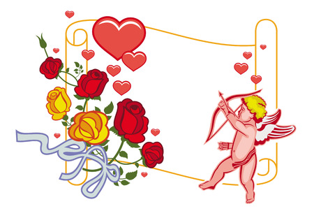 Paper scroll with Cupid, roses and hearts. Cupid with bow hunting for hearts. Design element for greeting cards and presents. Vector clip art.