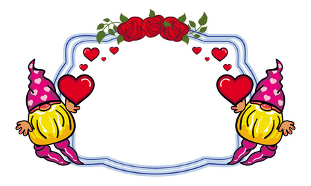 Oval label with roses and cute gnome holding heart. Design element for holiday decorations, greetings, Valentine day and birthday cards. Vector clip art.
