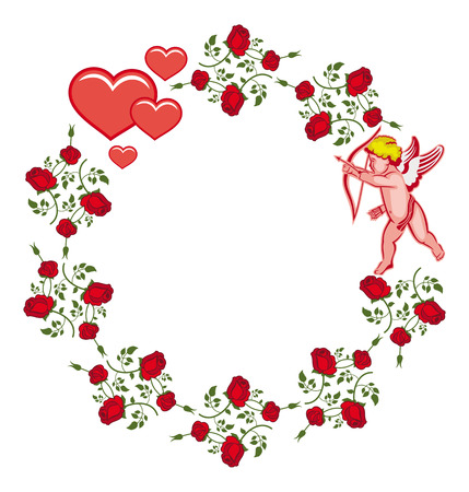 Elegant round frame with Cupid, red roses and hearts. Cupid with bow hunting for hearts. Design element for greeting cards and presents. Vector clip art. Illustration