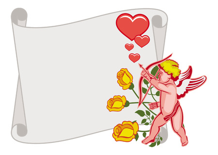 Paper scroll with Cupid, roses and hearts. Cupid with bow hunting for hearts. Design element for greeting cards and presents. Raster clip art.