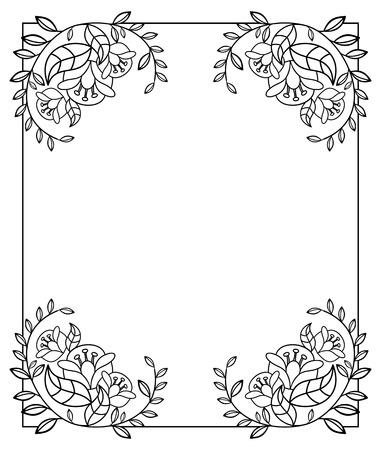 Elegante verticale frame met contouren van bloemen. Kopieer ruimte. clip art. Vector Illustratie