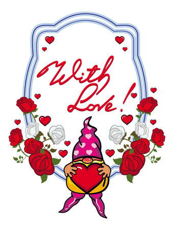 Oval label with roses, cute gnome holding heart and artistic written text With love!. Vector clip art. Illustration