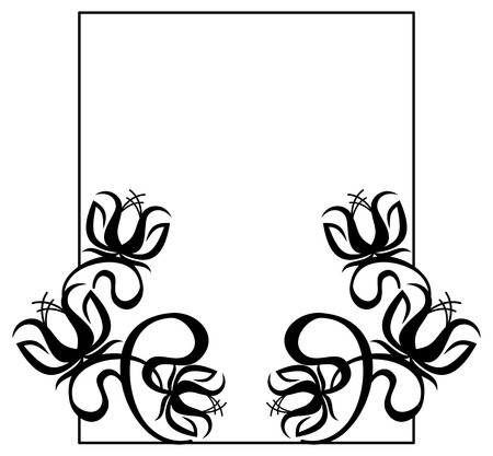 embossing: Black and white frame with flowers silhouettes. Vector clip art. Illustration