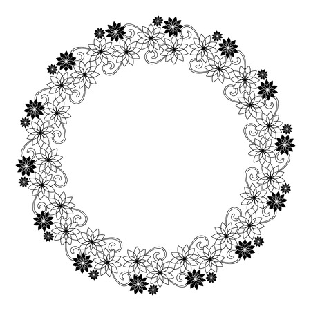 embossing: Elegant round frame with contours of flowers. Copy space. Vector clip art. Illustration