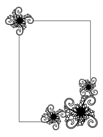 embossing: Elegant vertical frame with contours of flowers. Copy space. Vector clip art.