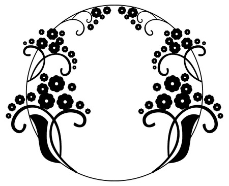 embossing: Round black and white frame with abstract decorative flowers. Copy space. Vector clip art.