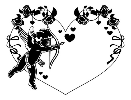 Cupid with bow hunting for hearts. Black and white frame with silhouettes of Cupid, roses and hearts. Design element for greeting card. Raster clip art.