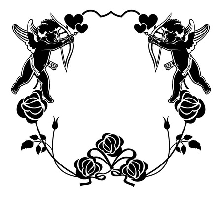 embossing: Cupid with bow hunting for hearts. Black and white frame with silhouettes of Cupid, roses and hearts. Design element for greeting card. Raster clip art.