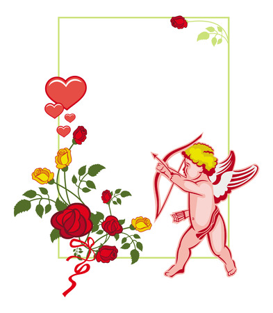Cupid with bow hunting for hearts. Color frame with Cupid, roses and hearts. Design element for greeting card. Raster clip art. Stock Photo
