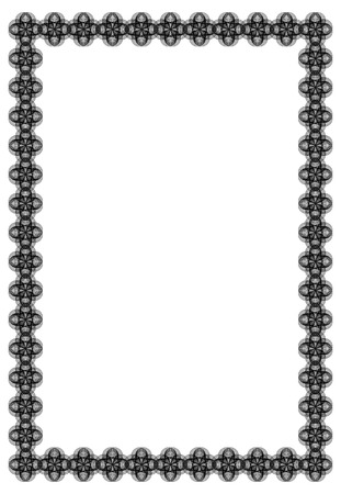 black and white abstract vertical frame guilloche border for