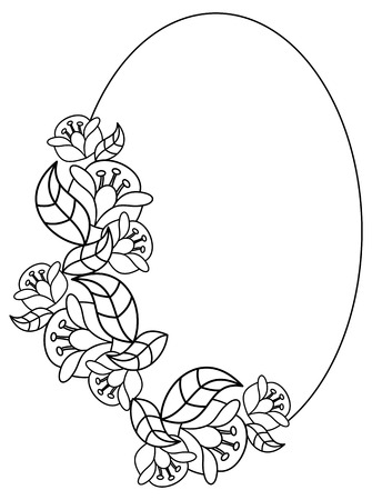 Elegant oval frame with contours of flowers. Copy space. Raster clip art.