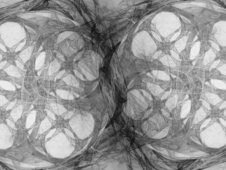 other space: Monochrome fractal background can be used as an alpha channel for video and design projects. Digital collage.