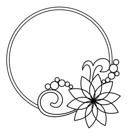Elegant round frame with contours of flowers. Copy space. Raster clip art. Stock Photo