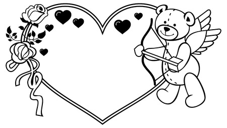 Heart-shaped frame with outline roses and teddy bear with bow and wings, looks like a Cupid. Valentine Day background. Vector clip art. Illustration
