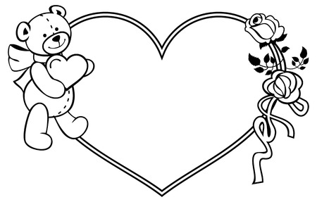 heartshaped: Heart-shaped frame with outline roses, teddy bear holding heart. Valentine Day background. Vector clip art.