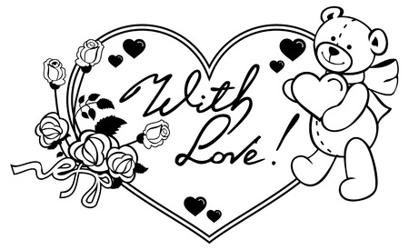Heart-shaped frame with outline roses, teddy bear holding heart written phrase With love!. Valentine Day background. Vector clip art.