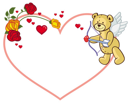 heartshaped: Heart-shaped frame with roses and teddy bear with bow and wings, looks like a Cupid. Vector clip art.