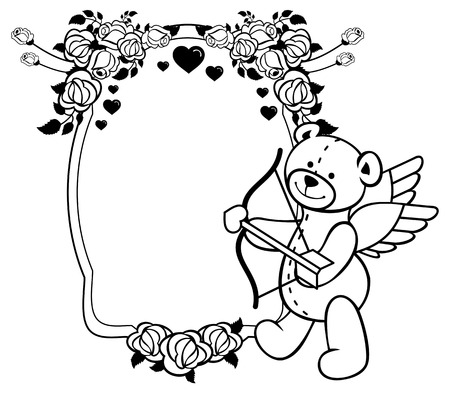 amor: Oval label with outline roses and teddy bear with bow and wings, looks like a Cupid. Copy space. Vector clip art.