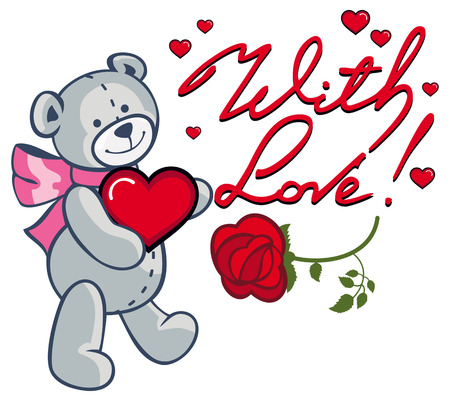 Artistic written text With love! and cute teddy bear holding red heart. Vector clip art. Illustration