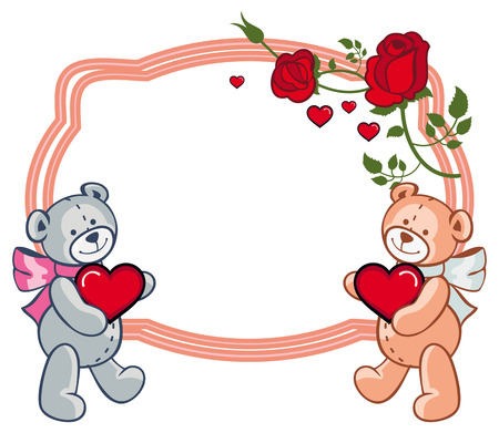Oval label with  roses and two teddy bears holding heart. Copy space. Vector clip art