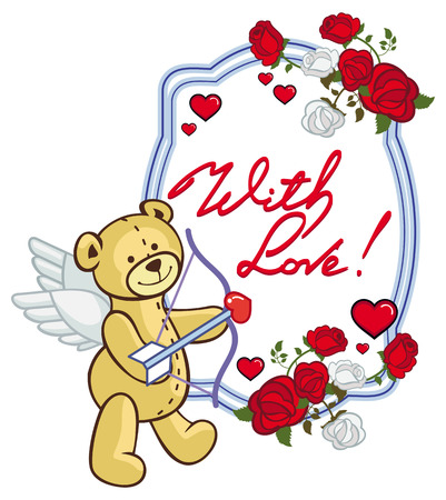Oval frame with red roses, teddy bear, looks like a Cupid and written phrase With love!. Valentine Day background. Vector clip art.