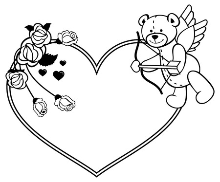 amor: Heart-shaped frame with outline roses and teddy bear with bow and wings, looks like a Cupid. Valentine Day background. Vector clip art. Illustration