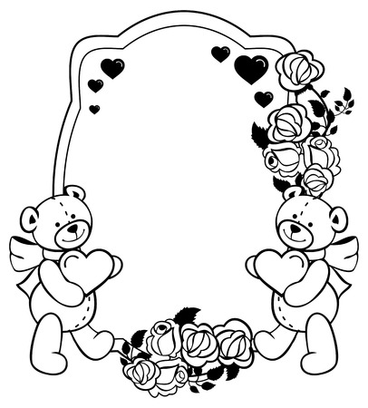 Oval label with outline roses and cute teddy bear holding heart. Copy space. Valentine Day background. Vector clip art.