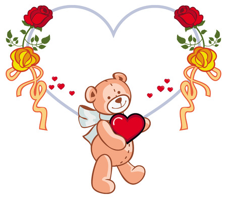 heartshaped: Heart-shaped frame with roses and teddy bear holding red heart.  Copy space. Vector clip art. Illustration