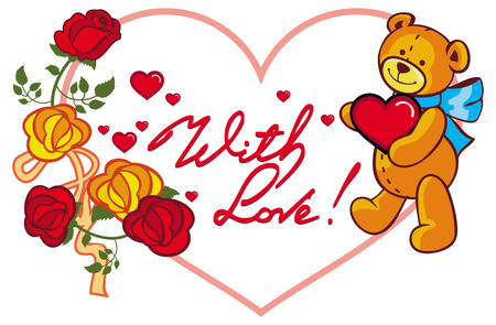 Heart-shaped frame with red roses, teddy bear holding heart and written phrase With love!. Valentine Day background. Vector clip art. Illustration