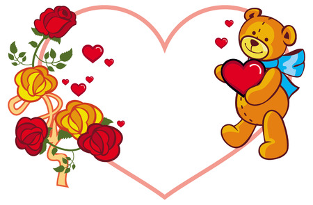 Heart-shaped frame with roses and teddy bear holding red heart.  Copy space. Vector clip art. Illustration