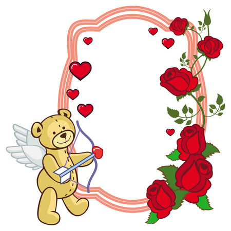 Color frame with roses and teddy bear with bow and wings, looks like a Cupid. Copy space. Vector clip art.