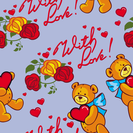 allover: Seamless pattern with hearts and teddy bears. Vector clip art.