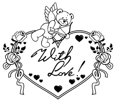 Heart-shaped frame with outline roses, teddy bear, looks like a Cupid and written phrase With love!. Valentine Day background. Vector clip art.
